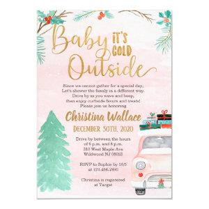 Winter Drive By Baby Shower Invitations for Girls