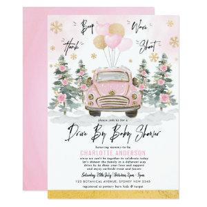 Winter Drive By Baby Shower Pink Gold Floral Car Invitation