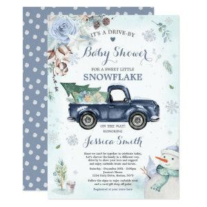 Winter Drive By Baby Shower Rustic Blue Truck Invitation