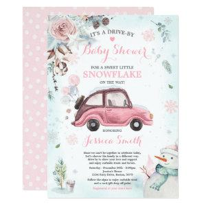 Winter Drive By Baby Shower Rustic Pink Car Invitation