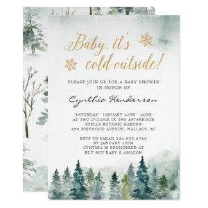 Winter Elegant Baby Shower Baby It's Cold Outside Invitation