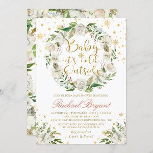 Winter Floral Baby Its Cold Outside Baby Shower