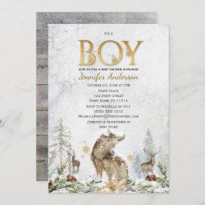 Winter Forest Boy Country Wolf Deer Baby Shower Invitation