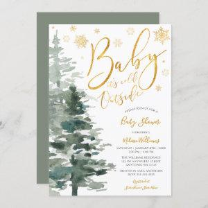 Winter Forest Gold It's Cold Outside Baby Shower