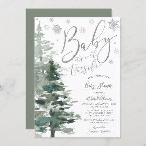 Winter Forest Silver It's Cold Outside Baby Shower