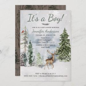 Winter Forest Woodland Country Deer Baby Shower