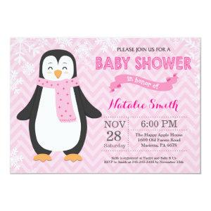 Winter Pink Penguin Girl Baby Shower Invitation