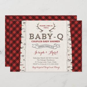 Winter Plaid Couples Baby Shower for boy Invitation