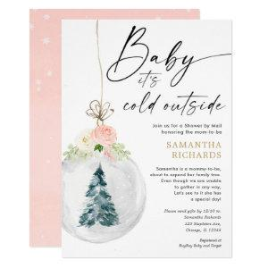 Winter Shower by Mail pink gold girl baby shower Invitation