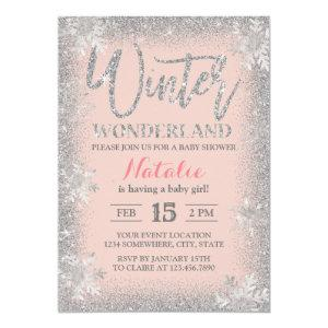 Winter Silver Snowflakes Blush Pink Baby Shower Invitation