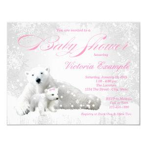 Winter Snowflake Bear Girl Baby Shower Invitations