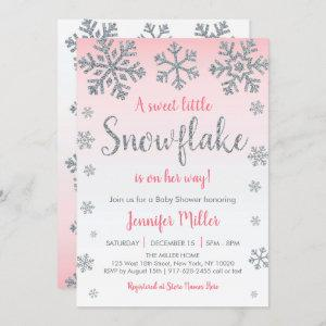 Winter Snowflake Pink & Silver Baby Shower