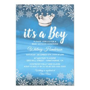 Winter Wonderland Little Prince Boy Baby Shower Invitation
