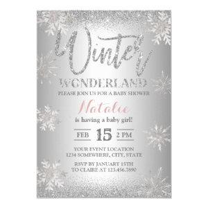Winter Wonderland Silver Snowflakes Baby Shower Invitation