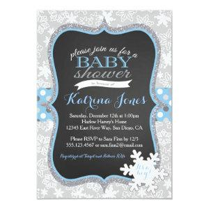 Winter Wonderland Snowflake baby shower invitation
