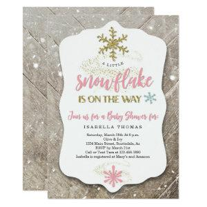 Winter Wonderland Snowflake Theme Girl Baby Shower Invitation