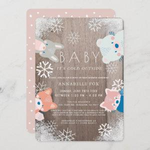 Winter Woodland Animals Pink Drive-by Baby Shower Invitation