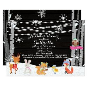 Winter Woodland Forest Baby Girl Shower Invitation