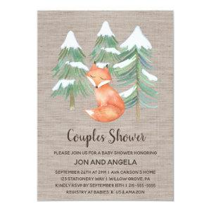 Winter Woodland Fox Couples Baby Shower Invitation