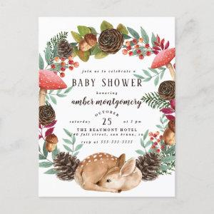 Winter Wreath & Baby Deer Woodland Baby Shower Invitation Postcard