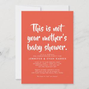 Witty virtual baby shower invitation in coral