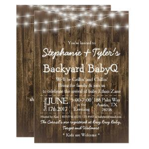 Wood BabyQ Backyard BBQ Bash Rustic Baby Shower Invitation