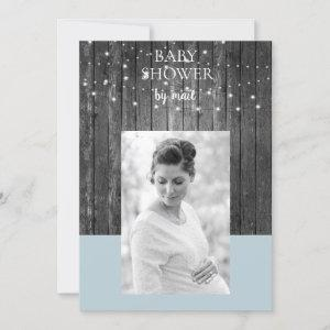 Wooden Fence Lights Baby Shower by Mail Photo Blue