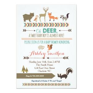 Woodland Animal Baby Shower Invitation