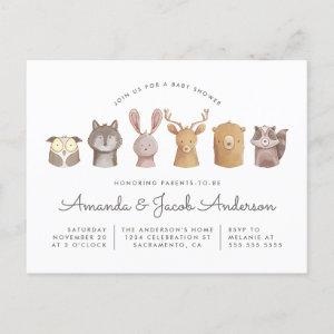 Woodland Animal Themed Baby Shower Invitation Postcard