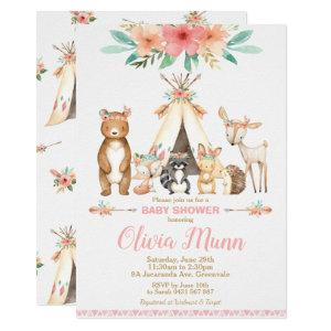 Woodland Animals Baby Shower Forest Animal Girl Invitation
