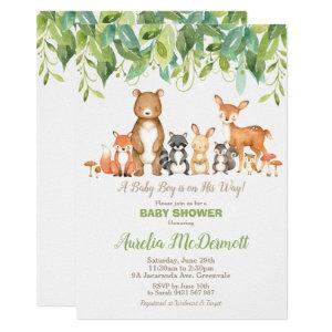 Woodland Animals Baby Shower Forest Boy Neutral Invitation