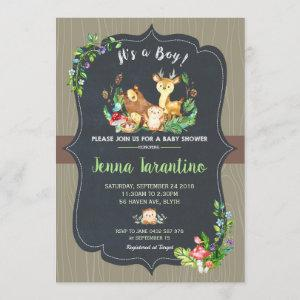 Woodland Animals Baby Shower Invitation Boy
