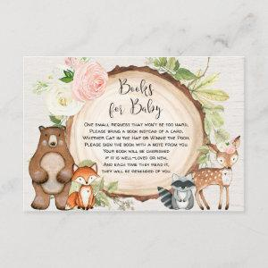 Woodland animals book request girl baby shower enclosure card