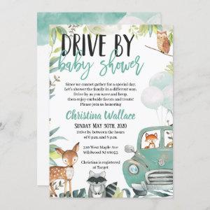 Woodland Animals Drive By Baby Shower Invitations