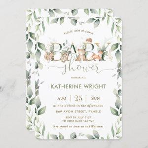 Woodland Animals Greenery Baby Shower Boy Girl Invitation