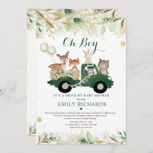 Woodland Animals Greenery Drive By Baby Shower