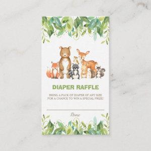 Woodland Animals Greenery Forest Boy Diaper Raffle Enclosure Card