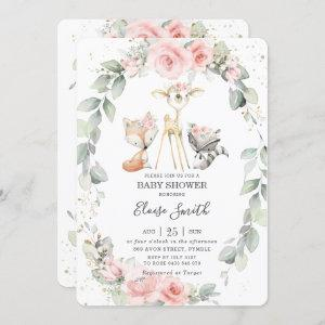 Woodland Animals Pink Floral Greenery Baby Shower