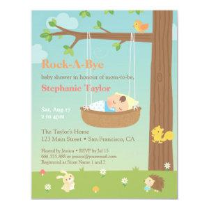 Woodland Animals Rock A Bye Baby Shower Invitation