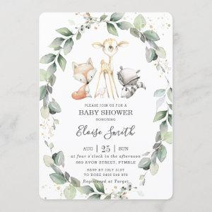 Woodland Animals Rustic Greenery Leafy Baby Shower Invitation