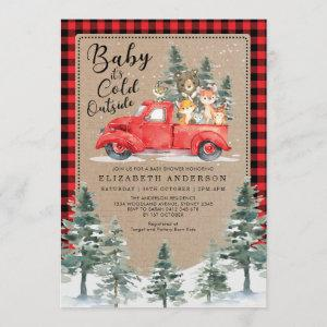 Woodland Animals Snowy Winter Baby Shower Drive By