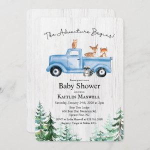 Woodland Animals Truck Baby Shower Invitation