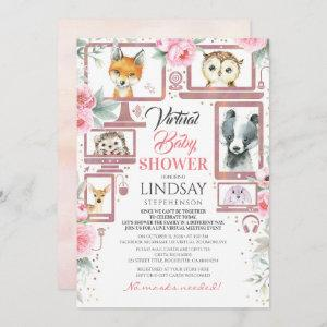 Woodland Animals Virtual Baby Shower Invitation