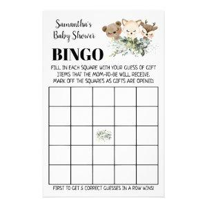 Woodland Baby Shower Bingo bilingual game card
