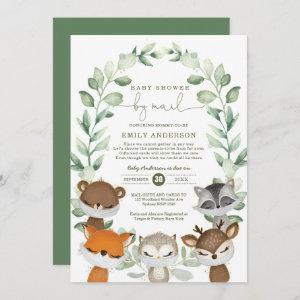 Woodland Baby Shower By Mail Greenery Quarantine Invitation