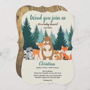 Woodland Baby Shower Forest Animals Greenery Invitation
