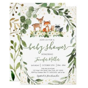 Woodland Baby Shower Greenery Forest Animal Invitation