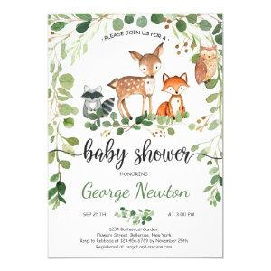 Woodland baby Shower Invitation Animals Greenery