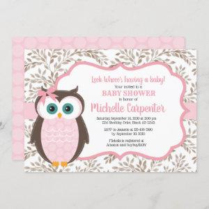 woodland baby shower invitation girl pink brown