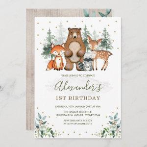 Woodland Birthday Forest Animals Greenery Gold Invitation